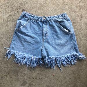 Zara Cutoff Denim Mom Jean Shorts